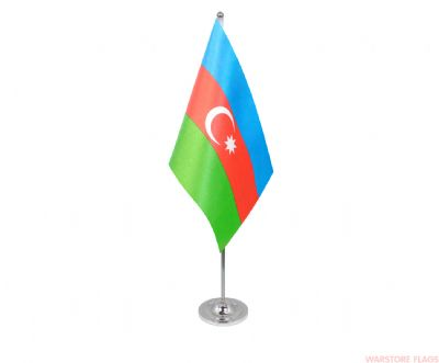 AZERBAIJAN - DELUXE SATIN TABLE FLAG